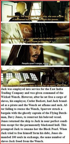 How Jack Sparrow became a Pirate. Well now I have to rewatch them, darnit.