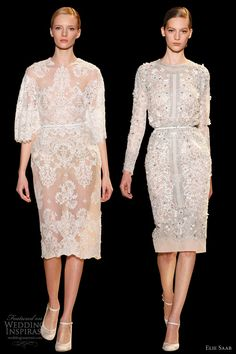 elie saab 2013 couture marble white embroidered lace short knee length dress sleeves