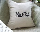 embroidered house number pillow cover