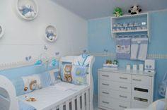 decoração azul de quarto de bebe