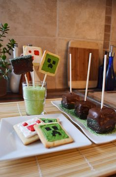 minecraft themed cookies and cake pops