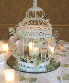 10 NEW WHITE DECORATIVE WEDDING BIRDCAGES VINTAGE WEDDING BIRD CAGE CENTREPIECE…