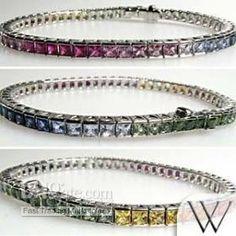 Wholesale Rainbow Sapphire Tennis Bracelet 18K White Gold Jewelry, Free shipping, $76.3~82.6/Piece   DHgate