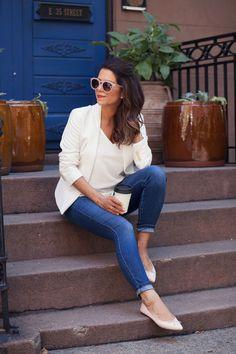 white blazer white cami denim jcrew flats henri bendel olivia sunglasses monday morning coffee break new york city fashion blogger nyc blogger corporate catwalk