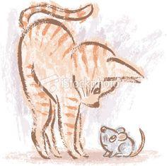 Cat and mouse by Toru Sanogawa, via Behance Kitten Drawing, Cute Cat Drawing, Cute Drawings, Kitty Tattoos, Cat Tattoo, Mouse Illustration, Art Mignon, Cat Pose, Vector Art