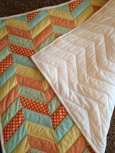Cute idea for a chevron quilt!