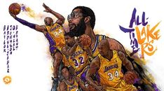 This all-time Los Angeles Lakers illustration seems a tad empty without Wilt Chamberlain and Jerry West, but it still hits the mark beautifully.