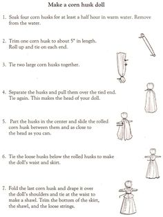 Make Corn Husk Dolls Instructions | Courtesy of the NC museum of history Colonial History in a box kit