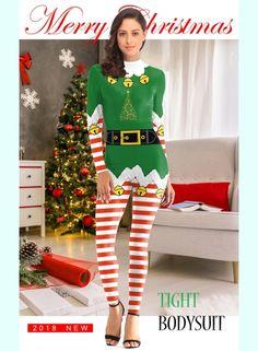 8b57775f85 women-christmas-3d-printed-slim-round-neck-zipper-