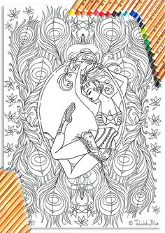 Aerial Hoop Circus Girl Colouring Page 'The Circus Girl