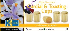 Kane Candy White Chocolate Cordial & Toasting Cups NOW AVAILABLE at fine quality retailers nationwide.  www.KaneCandy.com