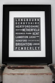 8x10 Pride and Prejudice Locations Typography by Brookish on Etsy