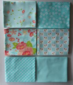 Lulu Lane by Moda Cotton Fabric, Fat Quarter Bundle of 6~Grp #3-Aqua~Fast Shipping Fq677