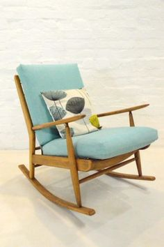 Details About Mid Century Modern Scandart Teak Rocking Chair Retro Vintage…