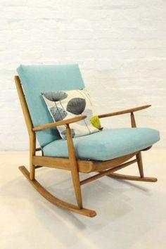 Details About Mid Century Modern Scandart Teak Rocking Chair Retro Vintage…