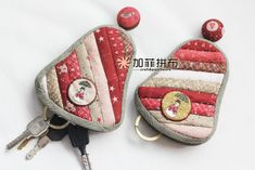 Lena Golub's media content and analytics Japanese Patchwork, Japanese Quilts, Fabric Crafts, Sewing Crafts, Sewing Projects, Key Pouch, Mini Cross Stitch, Key Covers, Key Fobs