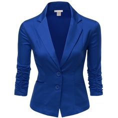 Doublju Womens 3/4 Sleeve Peaked Collar Cropped Blazer (47 CAD) ❤ liked on Polyvore featuring outerwear, jackets, blazers, tops, blue, blue blazer, three quarter sleeve jacket, cropped jacket, blue blazer jacket and cropped blazer jacket