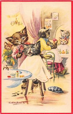 Details about OLD VINTAGE POSTCARD - DRESSED CATS HAVING A HAIRCUT - KATZE CHATS