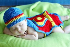 Crocheted Superman Hat Diaper Cover and Cape by TheAppleandTree, $42.00