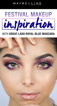 Festival season is alive and kicking! This colorful eye look featuring our Great Lash Royal Blue is our festival makeup inspiration. Get a colorful, dramatic lash look to compliment all your festival outfits this season! For more makeup inspiration using our Great Lash Royal Blue mascara, click through.
