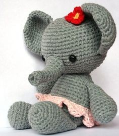 Ravelry: elephant Roosje pattern by Christel Krukkert--if I knew how to crochet I would have so many tiny animals around my house!