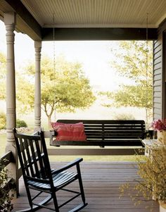 Porch swings & rocking chairs = the perfect country porch. :0) (originally seen by @Jeweljzp )