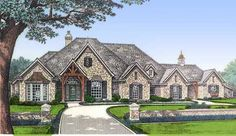 Plan W48006FM: Corner Lot, European House Plans & Home Designs 3423 sqft. Workshop in garage attached w/ breezeway