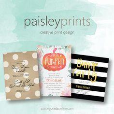 Paisley Prints . Creative Print Design #invitations #announcements #babyshower #wedding #affordableinvitations #affirdablewedding #printdesign #holidayinvitations