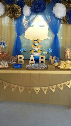 Royal prince baby shower theme. Baby shower. Baby boy baby shower. Gold and blue. Dessert table. Candy buffet table.