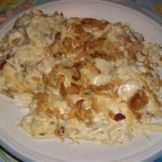 "Easy Turkey Tetrazzini - Allrecipes.com - Omitted mushrooms & butter.  Made own ""cream of"" soup w/ 2T butter, 3T flour, 1/2c milk, & 1/2c chicken broth.  Add veggies."