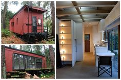 1945 red caboose that sits on rails on 4.25 acres on an island in Lake Washington. #converted homes