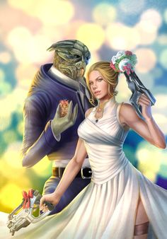 Let's make a wedding. if only FemShep was a red hed Mass Effect Romance, Mass Effect Art, Mass Effect Garrus, Mass Effect Universe, Commander Shepard, Gifts For My Sister, Video Game Characters, To Infinity And Beyond, Second World