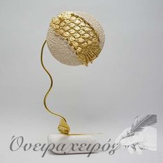 Ιδιαίτερο κεραμικό γούρι ρόδι με φύλλο χρυσού σε πέτρα