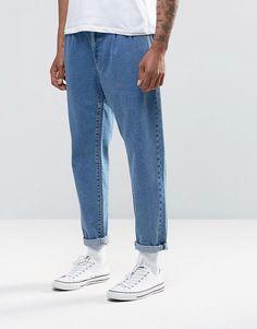 ASOS+Double+Pleat+Straight+Leg+Jean+In+Light+Blue