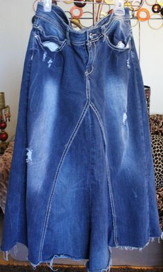 Long denim skirt from jeans. by TheBohemianCherry on Etsy