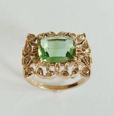 Dalben Green Tourmaline Rose Cut Diamond Gold Fashion Ring image 2