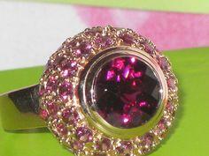 14k Solid Rose Gold Rhodolite Garnet Ring Size 8 Designer Estate EXC Cond ON SALE 650.00  eBay