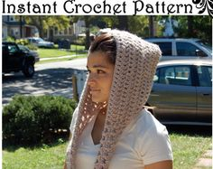 DIGITAL DOWNLOAD for Scarf/Hoodie Crochet Pattern by CarmenBee