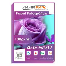 Papel Foto Glossy Paper Adesivo 130g/m² A4