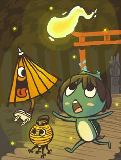 Hitodama (the will-o-the-wisp thing), kappa (turtle thing), kasa-obake (umbrella thing), and a chochino'bake (lantern thing)!!  In the background: a torii spirit gate and a kitsune (fox) statue. by Bowee on DeviantArt