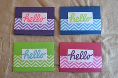 Set of 4 Handmade Cards - Hello - Chevron by SewCraftyCat on Etsy, $10.00