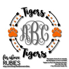 Tigers Paw Print Monogram Wreath with Arrows (monogram NOT included) - SVG, DXF, png, jpg digital cut file for Silhouette or Cricut by faraboverubies on Etsy https://www.etsy.com/listing/500821498/tigers-paw-print-monogram-wreath-with