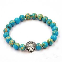 Koky 8mm Blue King's Natural Stones Beaded Stretch Bracelet with Silver Lion Head for Men Koky http://www.amazon.com/dp/B01C91RE7O/ref=cm_sw_r_pi_dp_r1x3wb0E10SM5