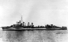 "Atlantic Eagle. ORP Burza, ""Wicher"" Class destroyer, French-built for the Polish Navy, in Atlantic camouflage, England, 1940. The ""Burza"" was one of the three Polish destroyers successful in evacuating to England on the eve of the German invasion of Poland as part of the ""Peking Plan""."