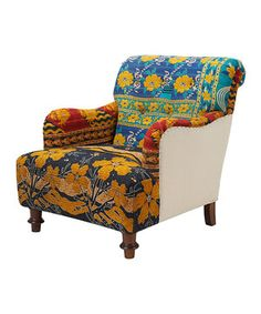 Love this Blue & Yellow Floral Kantha Blanket Vintage Arm Chair by ACG Green Group on #zulily! #zulilyfinds
