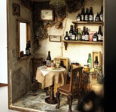 Vintage Country small Wine Shop -Ooak wine bar by Hea Kyung, via Behance Miniature Rooms, Miniature Houses, Haunted Dollhouse, Dollhouse Miniatures, Wooden Wine Holder, Wine Advertising, Dolls House Shop, Shadow Box Art, Vintage Country