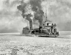 "Circa 1905. ""Grand Trunk car ferry crossing the Detroit River in winter."""