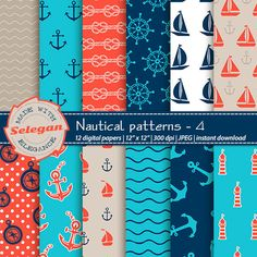 "nautical scrapbook paper "" Nautical Patterns -4 "" Nautical Digital Paper,Sea Digital Paper,Nautical Background,Printable Nautical Paper by Selegan on Etsy"