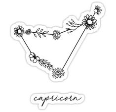 Capricorn Zodiac Wildflower Constellation Sticker