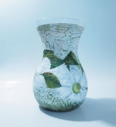 Iris white flower vase, glass tabledecor, shaby chic decoupage centerpiece, handpainted home decor, gift idea for birthday in gift box Flower Vases, Flower Pots, Deer Decor, Shaby Chic, Matching Gifts, Christmas Candle, Natural Home Decor, Centerpiece Decorations, Candle Set
